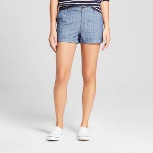 "Pants - A New Day Women's 3"" Chino Shorts Chambray Blue"